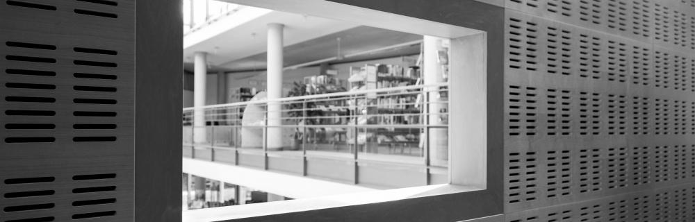 Fenster mit Blick in Bibliothek