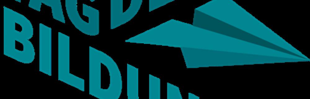 Logo Tag der Bildung (Slogan mit Papierflieger)